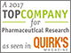 Logo for 2017 top company for pharmaceutical research as seen in Quirk's Magazine